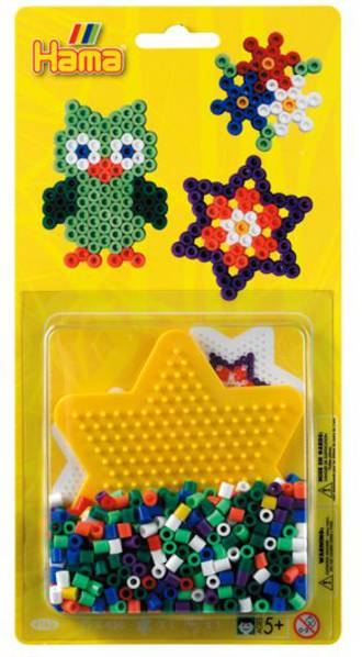 Hama - Blister Bead Kit w/ Yellow Star Pegboard, 450 Beads