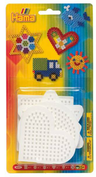 Hama Blister Pack, Small Shapes Pegboards: Square, Circle, Hexagon, Heart & Star