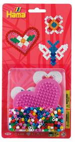 Hama Blister Bead Kit w/ Pink Heart Pegboard - 450 Beads