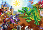 Cobble Hill Floor Puzzle - Knights and Dragons