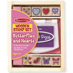 Melissa & Doug Butterflies and Hearts Wooden Stamp Set