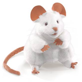 Mouse Hand Puppet, White