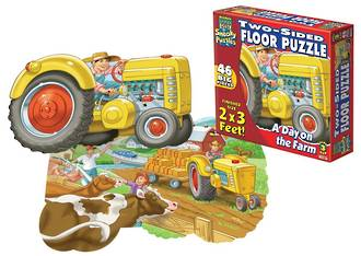 Two Sided Floor Puzzle - A Day on the Farm