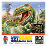 Glow in the Dark 100 Piece Puzzle Dinosaur with erupting volcano